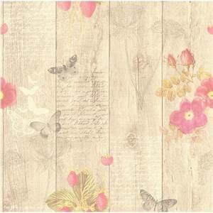 Papier Peint Papillons Beige Rose Intiss Cuisine Et Bain