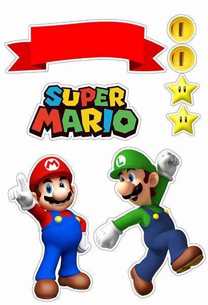 Mario Bros Super Printable Cake Toppers Clipart
