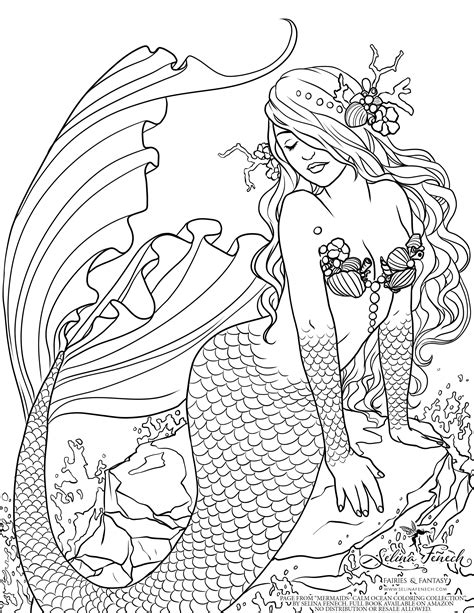 mermaid colouring page  selina fenech shared
