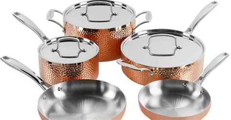 cuisinart tri ply hammered copper  piece cookware set  shipped regularly  hipsave