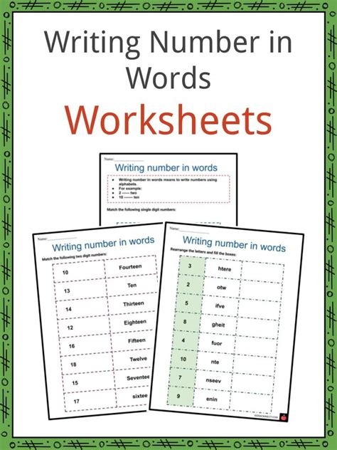writing numbers in words worksheets numerals number words