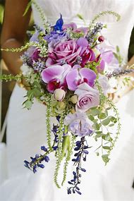 Pink Blue and Purple Wedding Bouquet
