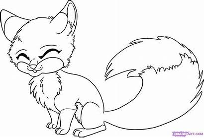 Fox Coloring Pages Animals Anime Draw Sheets
