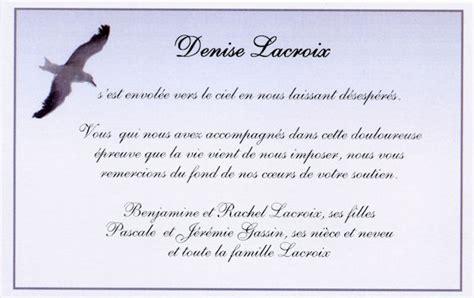 modele de lettre de remerciement pour un deuil quot le goeland quot carte de remerciement de deces