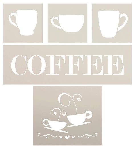 Drip coffee, drink, decaffeinated coffee, decaf, coffee bean. Word Coffee Stencil with Coffee Cup Set - 5 Piece by StudioR12 | Reusable Mylar Template | Use ...