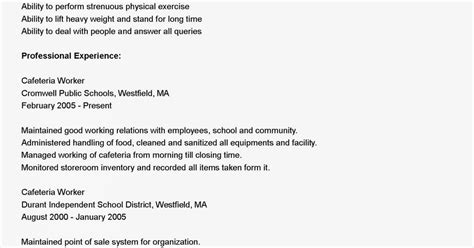 Resume For Cafeteria Worker by Resume Sles Cafeteria Worker Resume Sle