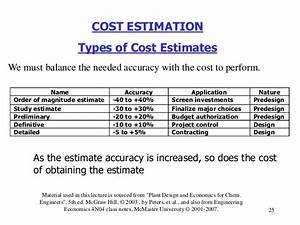 Lecture # 5 cost estimation i