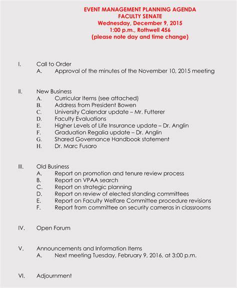 prepare  agenda  event planning