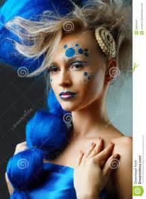woman  creative fantasy hairstyle stock image image