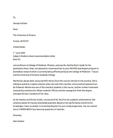 exle of letter of recommendation 8 letter of recommendation exles sle templates 29761