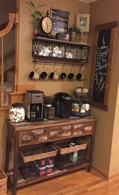 Home coffee bar's are not only fun and decorative but they're also a great way to save money. Coffee bar   Coffee bar home, Coffee bars in kitchen, Home coffee stations