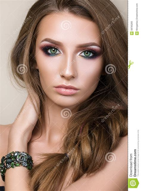 Beauty Portrait Of Young Pretty Girl With Green Eyes Stock
