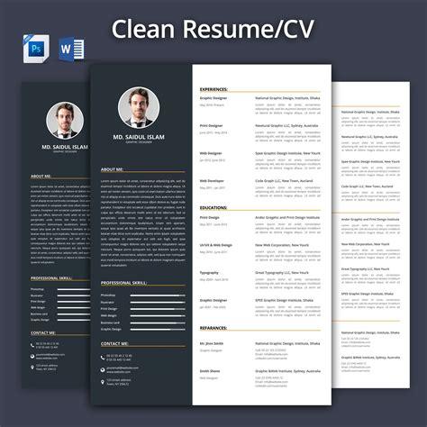 Popular Cv Templates by Clean Resume Cv 2017 Resume Templates Creative Market