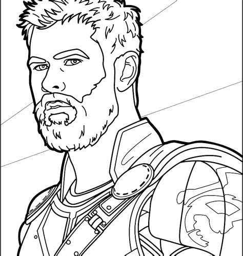 thor in thor ragnarok coloring page free printable