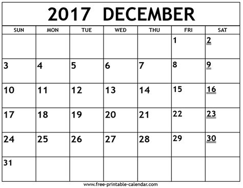 free printable 2017 calendar printable 2017 december calendar free