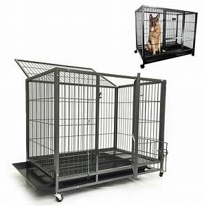 43quot large dog kennel w wheels portable pet puppy carrier for Large dog portable kennel