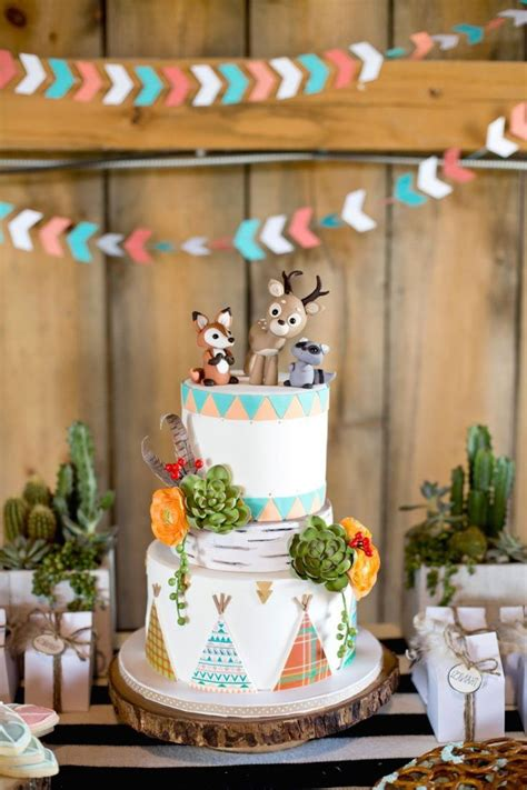 cute woodland themed baby boys shower decoration
