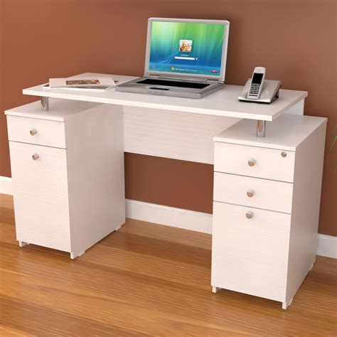 straight desk with drawers inval white modern straight computer writing desk with