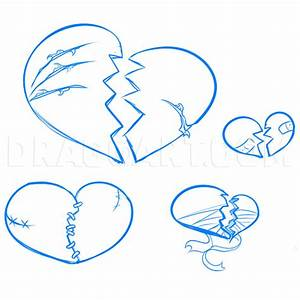 How To Draw Broken Hearts  Step By Step  Drawing Guide  By