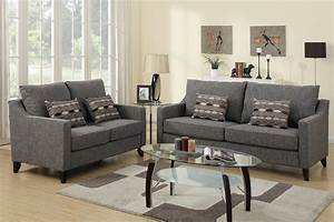 Poundex avery f7544 grey fabric sofa and loveseat set for Sofa and loveseat