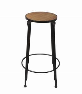 Rond En Bois : tabouret de bar rond en m tal noir et assise en bois ~ Teatrodelosmanantiales.com Idées de Décoration