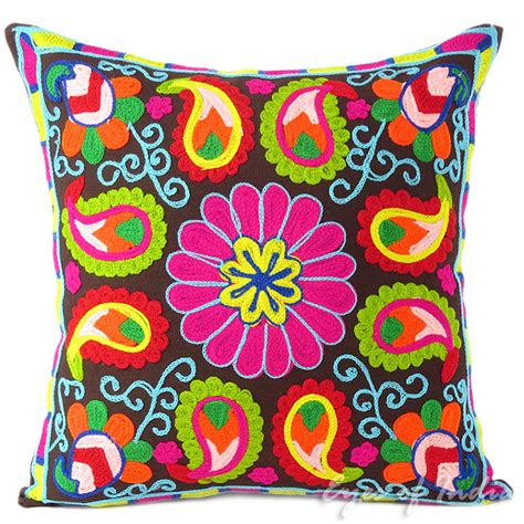 Colorful Sofa Pillows by Brown Pink Colorful Decorative Embroidered Bohemian