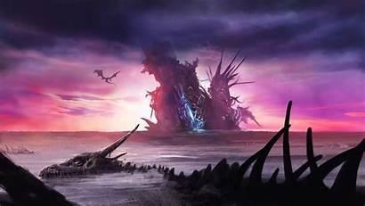 Dragon Fantasy Skeleton Sky Dark Wallpapers Graveyard