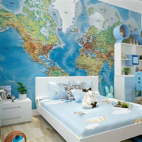 HD Stereo Satellite World Map Murals Wall Paper Study Room