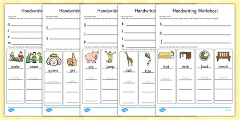 handwriting work sheets