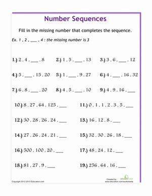 number sequences worksheet education