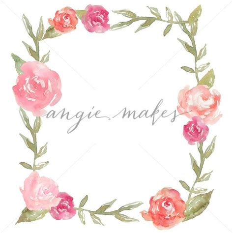 square flower square bunga watercolor peony square flower frame background