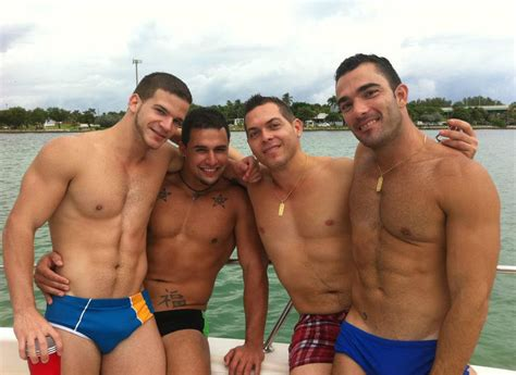 Old Boat Guy by Shirtless Athletic Muscle Males Party Guys Boating Speedo