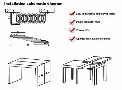 Table Extension Slide Section Mechanism Folding Dining