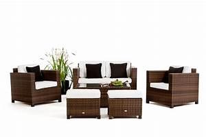 Rattan Gartenmöbel Lounge : luxury deluxe braun das gartenm belset f r terrasse und garten ~ Frokenaadalensverden.com Haus und Dekorationen