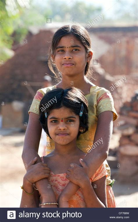 Download this stock image: Indian village girls Andhra
