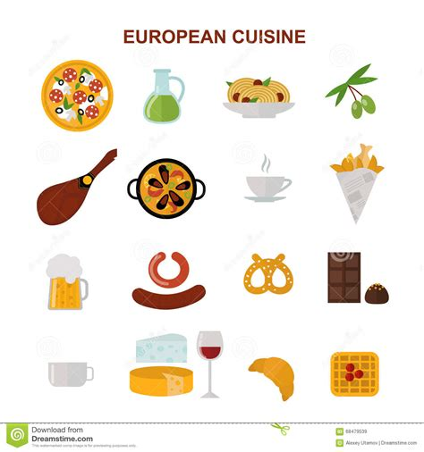 illustration cuisine top view showing european food and delicious elements flat