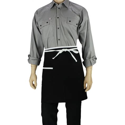 tablier de cuisine noir tablier de cuisine à la taille noir avec liseré blanc