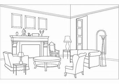 Coloring Bedroom Living Drawing Interior Sleep Clipart