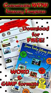 Vacation Travel Itinerary Template Wdw Itinerary Templates Free Printable Disney