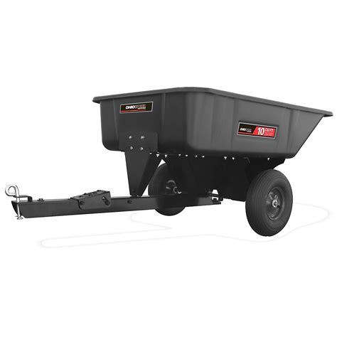 ohio steel  cu ft poly swivel dump cart lawn garden tractor attachments carts