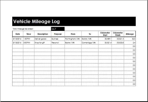 vehicle mileage log templates ms excel microsoft word