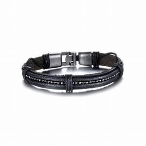 f0fbf7d85b3 bracelet homme cuir et chaine boule bracelets homme. bracelet homme cuir  elements acier cable torsade bijouxstore ...