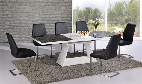 white high gloss extending dining table with 8 chairs