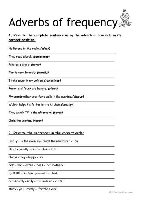 adverbs  frequency worksheet  esl printable