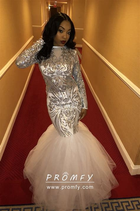 silver sequin white tulle mermaid long prom dress promfy
