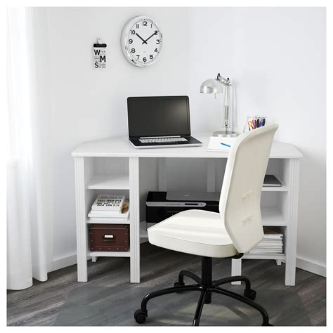 white corner desk with storage brusali corner desk white 120x73 cm ikea