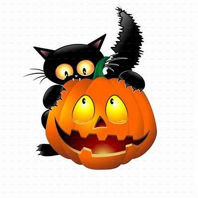 Halloween Funny Pumpkin Cartoon Cat Clipart Cartoons