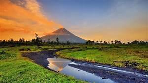 landscape volcano smoke philippines wallpapers