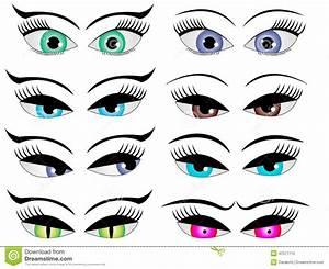 Female cartoon eyes stock illustration. Image of cute ...