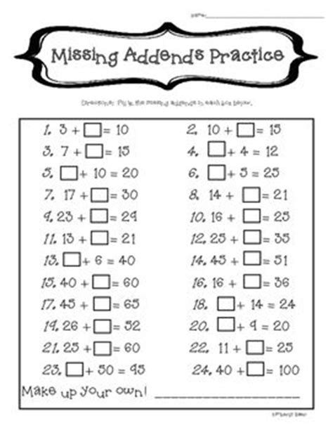 Missing Addendsmental Math Practice2digit Addition  Mental Maths, Math Games And Math
